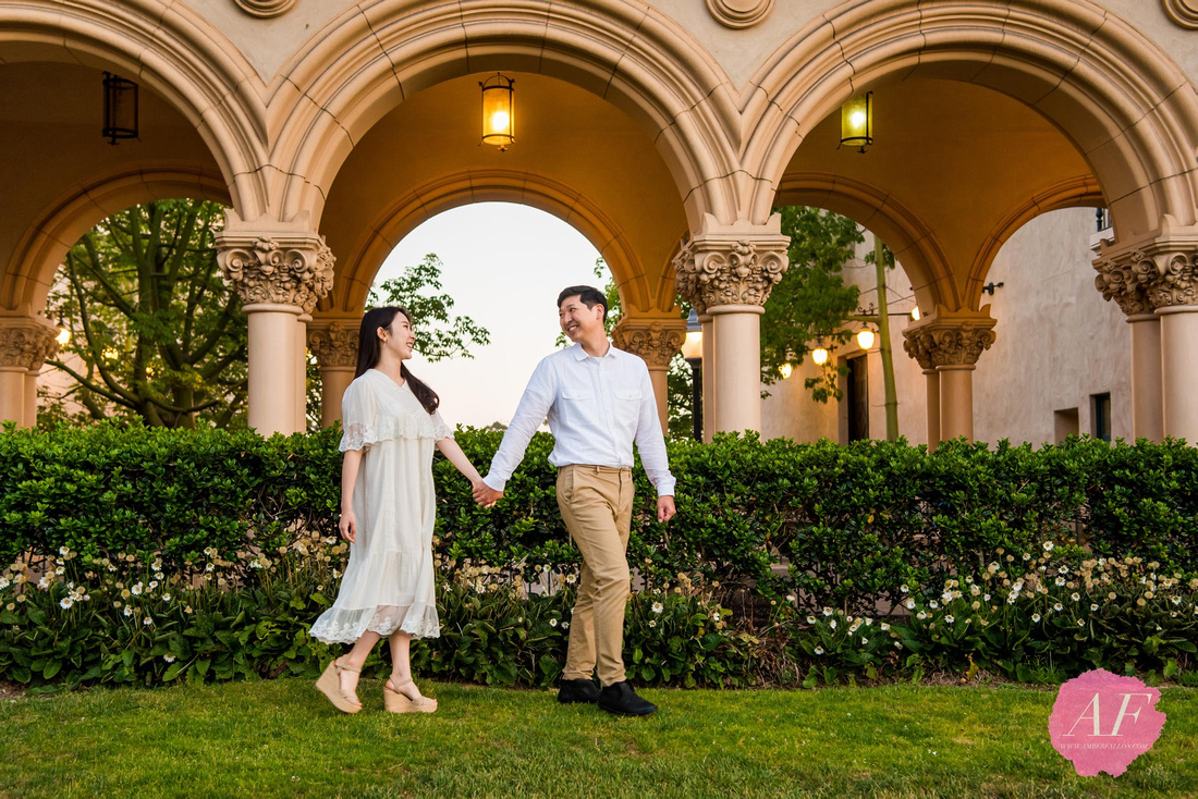 Young, romantic couple's engagement session at the Botanical Garden and Timken Museum of Art at Balboa Park in San Diego, California