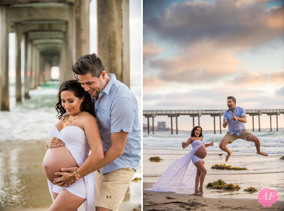 San Diego couple's cliffside beach maternity during sunset at Scripps Pier in La Jolla, California