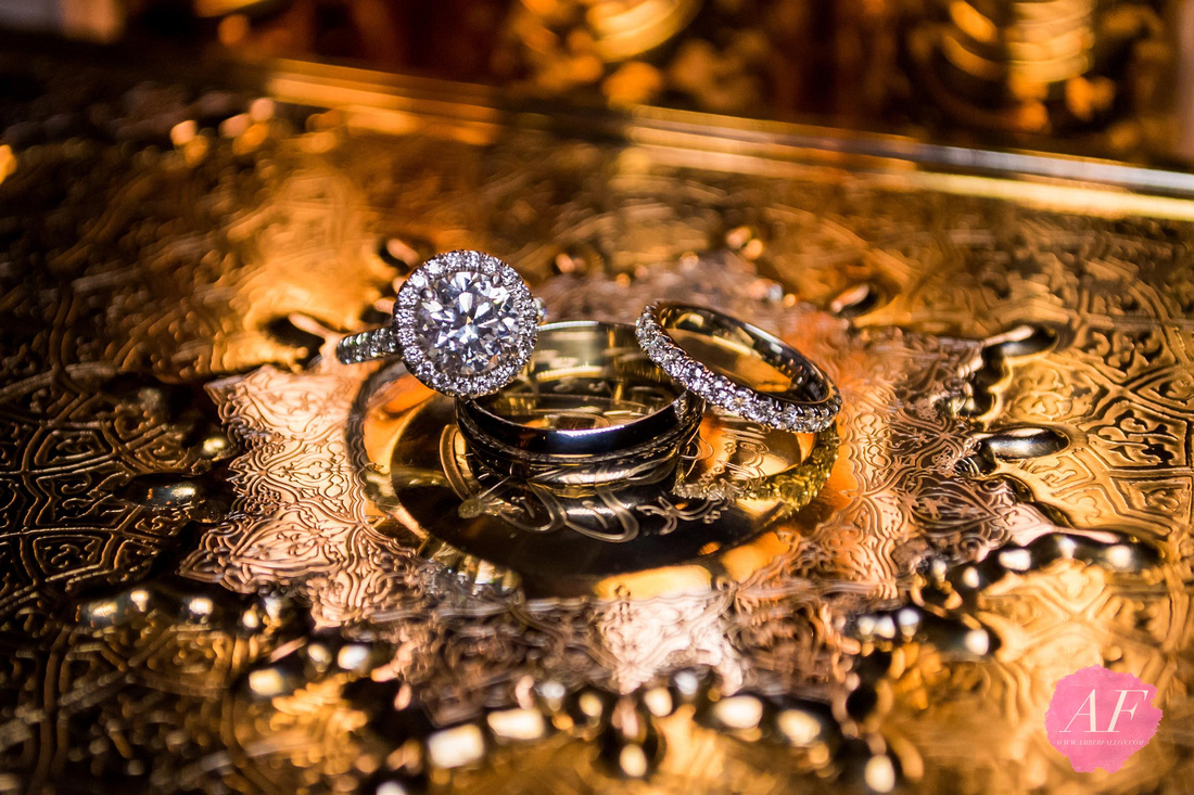 Bride and groom wedding rings from multi-cultural Persian-American wedding at the Omni La Costa in Carlsbad, San Diego, California
