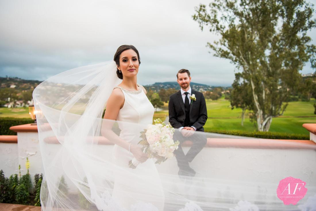 Portrait of classic, elegant bride and groom during their multi-cultural Persian-American wedding at the Omni La Costa in Carlsbad, San Diego, California