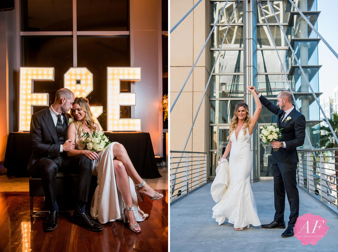 Amber Fallon photographs a modern yet classic wedding at the Ultimate Skybox reception venue with rooftop sunset views in the heart of Gaslamp District in downtown San Diego, California.