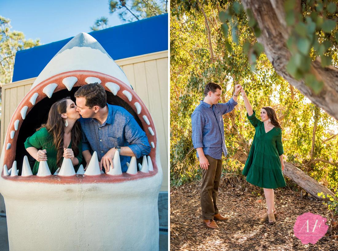 Romantic couple's engagement session at La Jolla's Birch Aquarium in San Diego, California