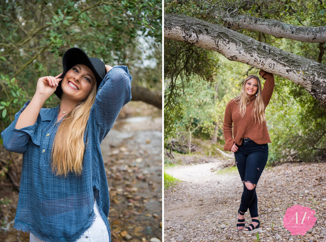 Amber Fallon Photo photographs rustic Fall portrait session for fashionable high school graduating senior at nature trail park called Marian Bear Park in Clairemont near La Jolla in San Diego, California