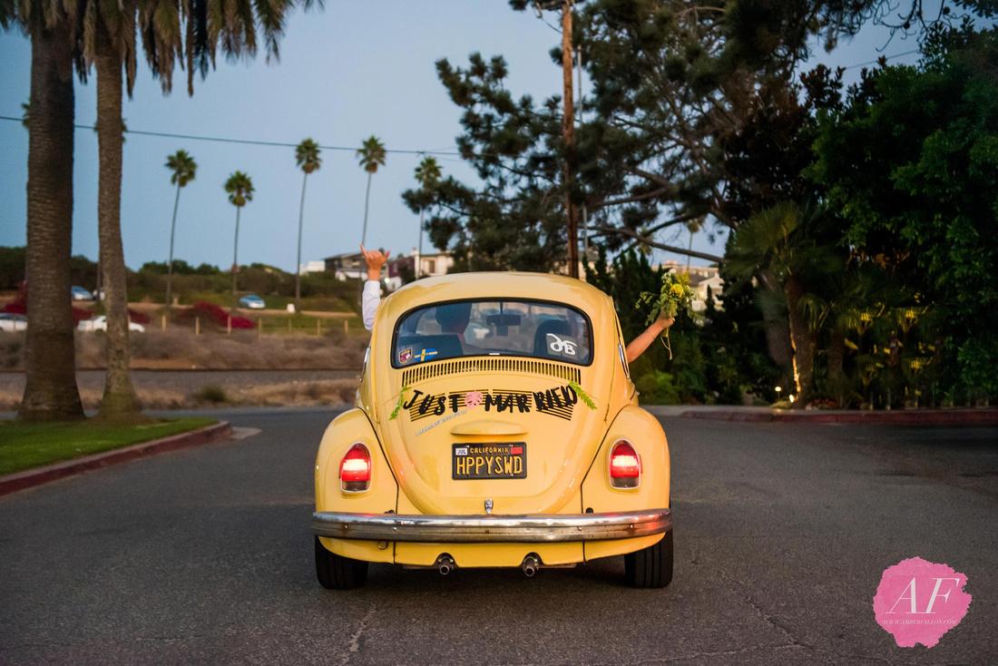 Surfer, vanlife wedding couple drive off with vintage volkswagen bug after intimate beach elopement in Encinitas, California