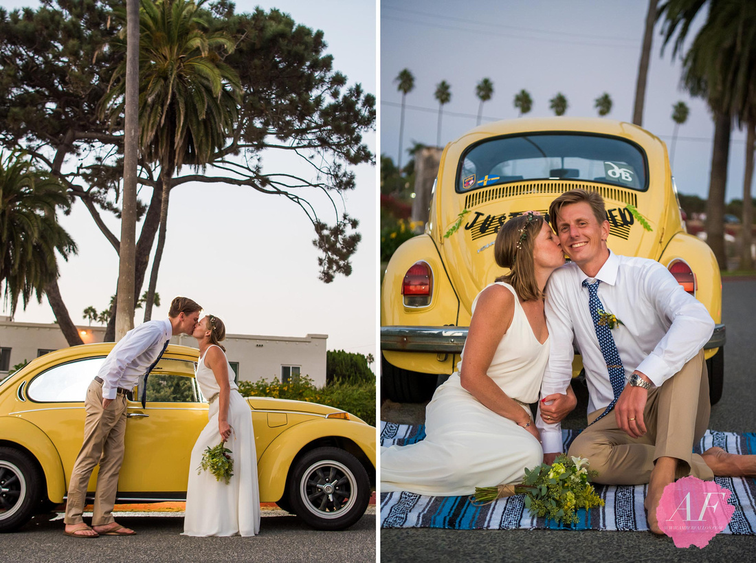 Surfer wedding couple pose for portraits with their vintage volkswagen bug after intimate beach elopement in Encinitas, California
